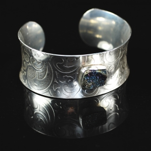 Navy Blue Rainbow Pyrite Cuff