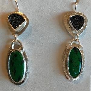 Burmese Green Jade & Black Drusy Earrings