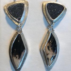 Black Drusy Earrings