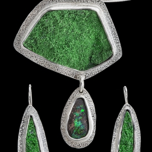 Green Garnet Drusy Pendant & Earrings
