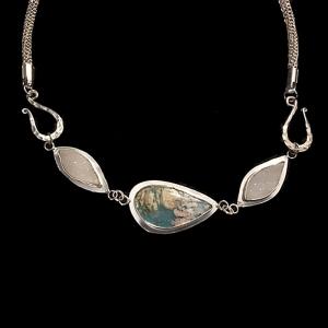 Blue Coral Sea with Handmade Fine Silver Chain