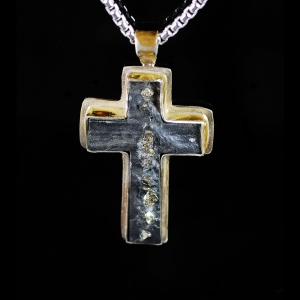 Slate and Pyrite Cross
