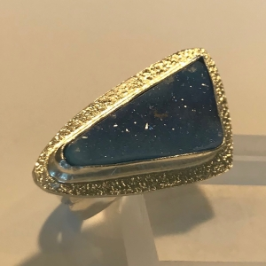 Blue Drusy Ring