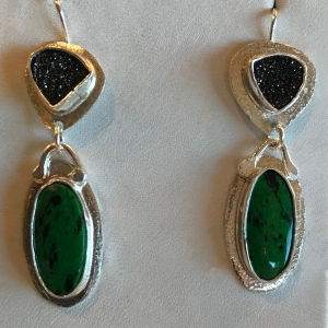 Burmese Green Jade & Black Drusy Earrings